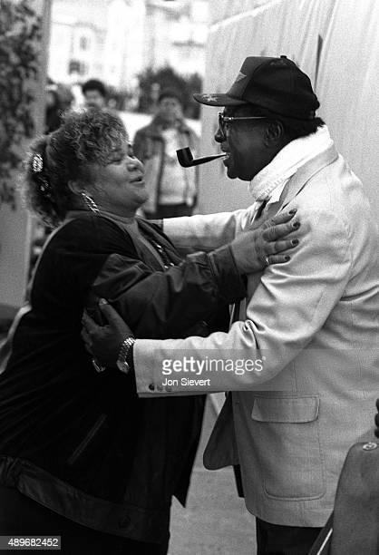 Etta James and Albert King greet each other at the San Francisco Blues Festival on September 10 1989