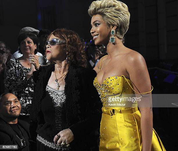 Etta James and Beyonce on stage during the Conde Nast Media Group's Fifth Annual Fashion Rocks at Radio City Music Hall on September 5 2008 in New...