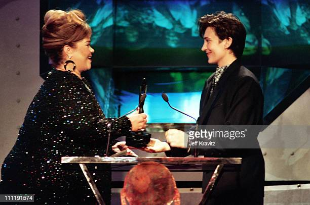Etta James and kd Lang during 8th Annual Rock and Roll Hall of Fame Induction Ceremony 1993 at Century Plaza Hotel in Century City CA United States