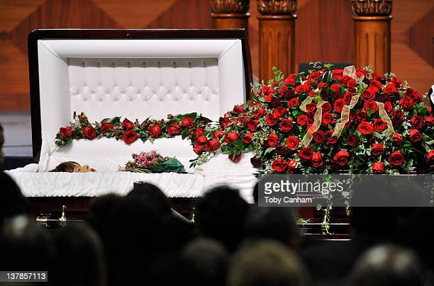 Etta James casket is opened for a last viewing before burial in the City Of Refuge Church on January 28 2012 in Gardena California