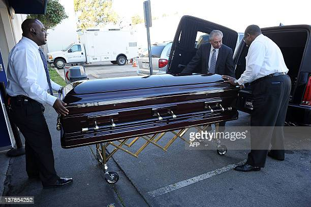 Etta James' coffin arrives at her funeral In Gardena California on January 28 2012 AFP PHOTO/VALERIE MACON