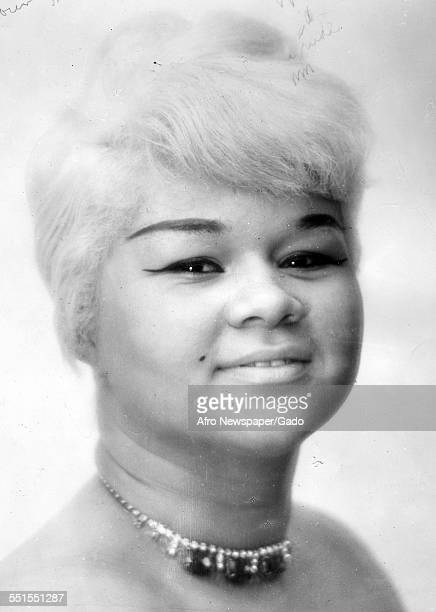 Etta James singer and songwriter a youthful portrait wearing a choker with short blonde hair 1960