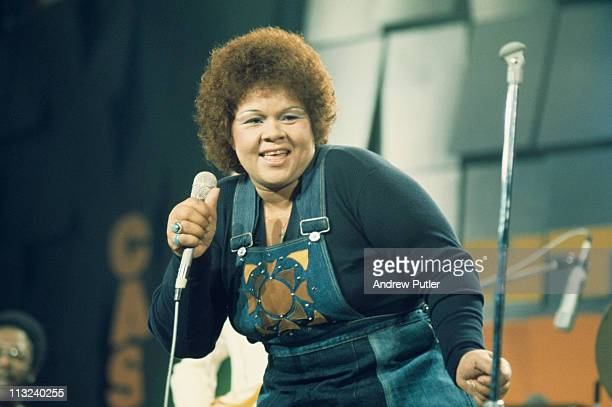 Etta James US blues and jazz singer on stage during a live concert performance at the Montreux Jazz Festival in Montreux Switzerland 11 July 1975