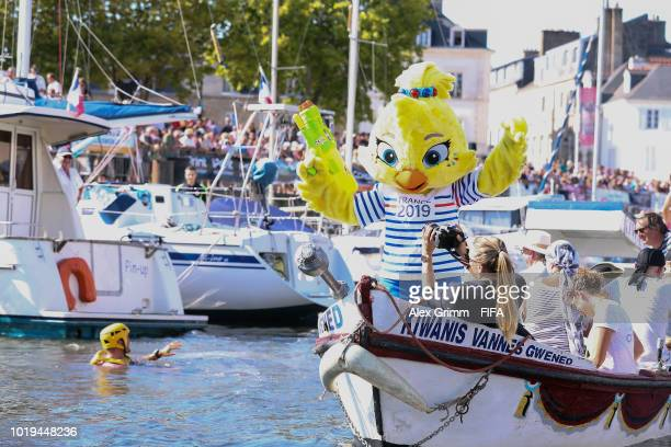 Ettie mascot of the FIFA Women's World Cup France 2019 takes part in a water jousting competition during the FIFA U20 Women's World Cup France 2018...