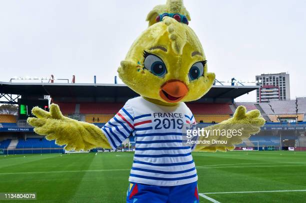 Ettie mascot of the women's world cup in France 2019 during the Ligue 1 match between Montpellier and Guingamp at Stade de la Mosson on April 3 2019...