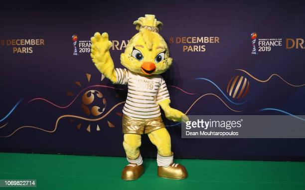 Ettie The Official Mascot for the FIFA Women's World Cup France 2019 arrives on the green carpet during the FIFA Women's World Cup France 2019 Draw...