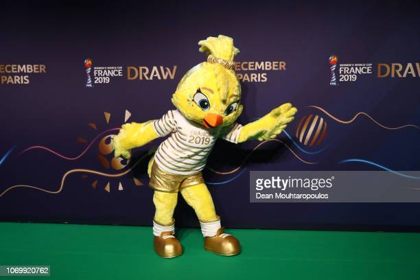 Ettie the Women's World Cup mascot arrives at the FIFA Women's World Cup France 2019 Draw at La Seine Musicale on December 8 2018 in Paris France