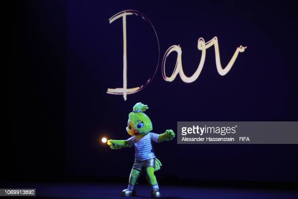 Ettie the Women's World Cup mascot on stage during the FIFA Women's World Cup France 2019 Draw at La Seine Musicale on December 8 2018 in Paris France