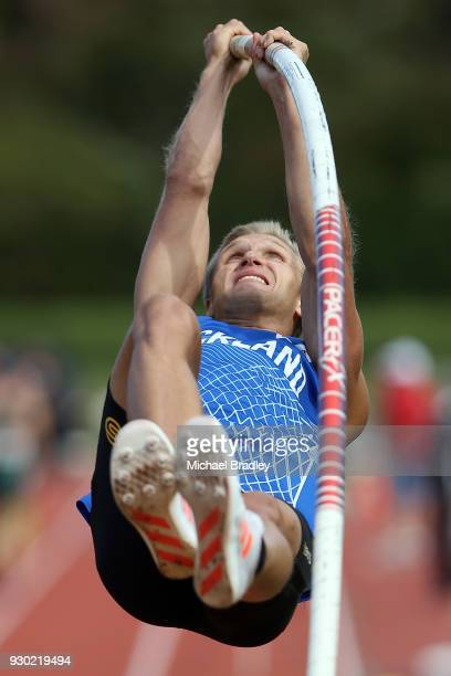 Ettiene Du Preez from Auckland competes in the Mens Pole Vault during the New Zealand Track Field Championships on March 11 2018 in Hamilton New...