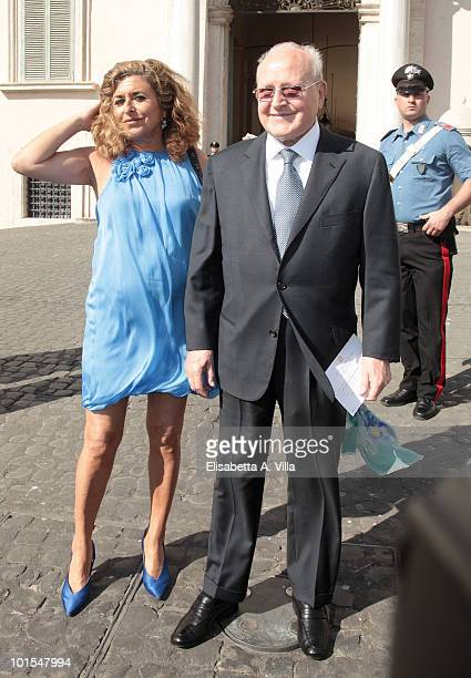 Ettore Bernabei and daughter Matilde Bernabei arrive at the Quirinale Palace to attend a Gala Dinner hosted by Italy's President Giorgio Napolitano...