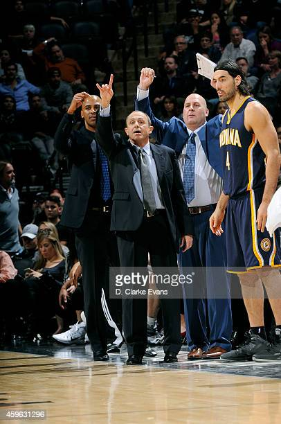 Ettore Messina and the San Antonio Spurs coaching staff call a play during a game against the Indiana Pacers at the ATT Center on November 26 2014 in...