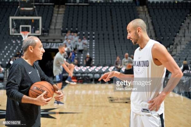 Ettore Messina coaches Manu Ginobili of the San Antonio Spurs before the game against the Memphis Grizzlies on November 29 2017 at the ATT Center in...