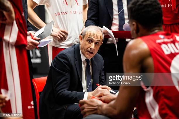 Ettore Messina during the 2019/2020 italian basketball league LBA Lega Basket A Regular Season Round 22 match between AX Armani Exchange Milan and...