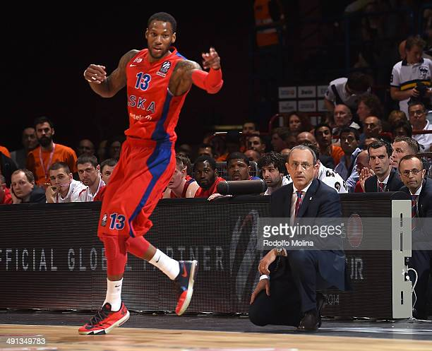 Ettore Messina Head Coach of CSKA Moscow and Sonny Weems #13 in action during the Turkish Airlines EuroLeague Final Four Semi Final B between CSKA...