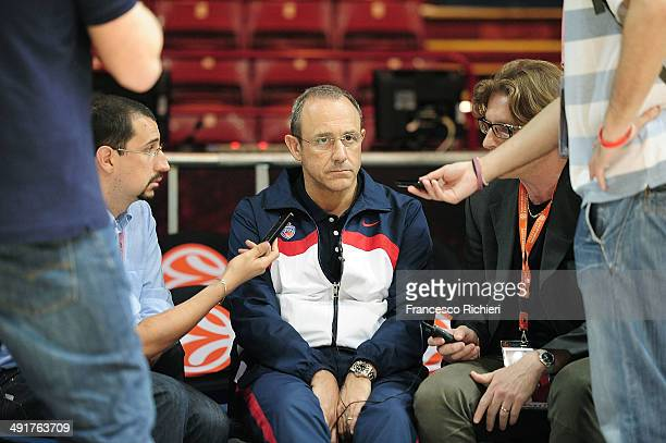 Ettore Messina Head Coach of CSKA Moscow during the Turkish Airlines EuroLeague Final Four CSKA Moscow Practice at Mediolanum Forum on May 17 2014 in...