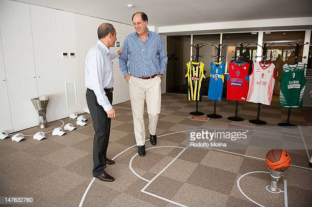 Ettore Messina Head Coach of CSKA Moscow speaks to Josean Querejeta President of Caja Laboral Vitoria during the Euroleague Basketball Rules Summit...