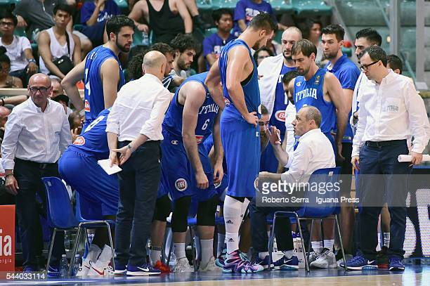Ettore Messina head coach of Italy Basketball National Team talks over during the friendly match between Italy and Canada at PalaDozza on June 26...