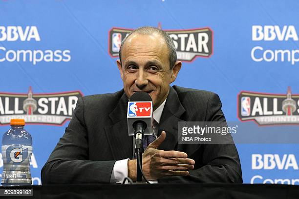 Ettore Messina head coach of the World Team talks during the press conference about the USA Team against the World Team game during the BBVA Compass...
