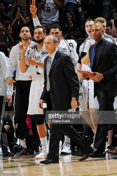 Ettore Messina of the San Antonio Spurs celebrates during a game against the Indiana Pacers at the ATT Center on November 26 2014 in San Antonio...