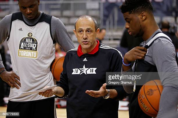 Ettore Messina of the San Antonio Spurs coaches during the BBVA Rising Stars Challenge Practice as part of 2016 AllStar Weekend at NBA Centre Court...