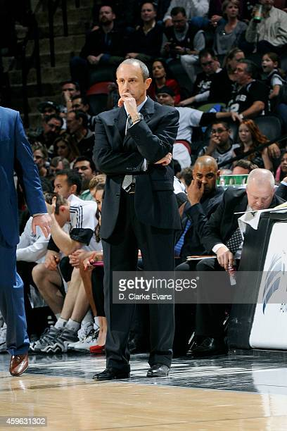 Ettore Messina of the San Antonio Spurs stands on the court during a game against the Indiana Pacers at the ATT Center on November 26 2014 in San...