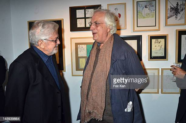 Ettore Scola and director Bertrand Tavernier attend the Ettore Scola Exhibition Preview at Galerie Catherine Houard on June 7, 2012 in Paris, France....