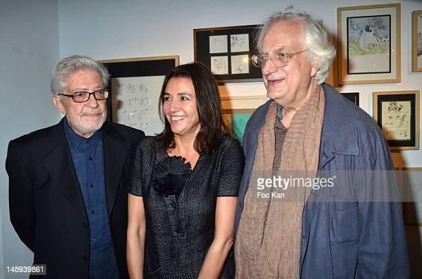 Ettore Scola, Catherine Houard and director Bertrand Tavernier attend the Ettore Scola Exhibition Preview at Galerie Catherine Houard on June 7, 2012...