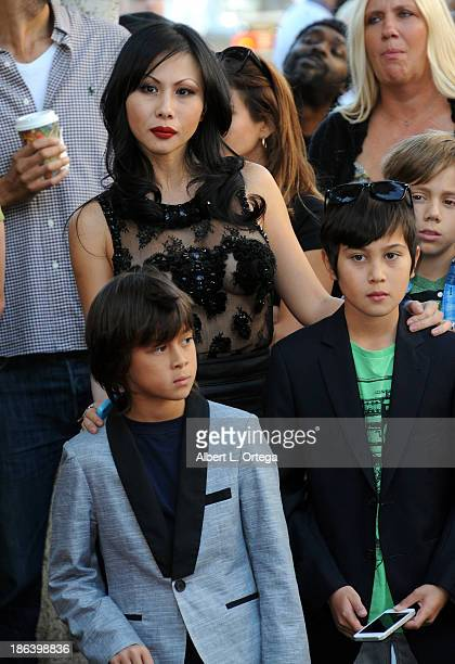 Etty Lau Farrell ands sons Izzadore Bravo Hezron Wolfgang attend as Jane's Addiction is Honored On The Hollywood Walk Of Fame on October 30 2013 in...