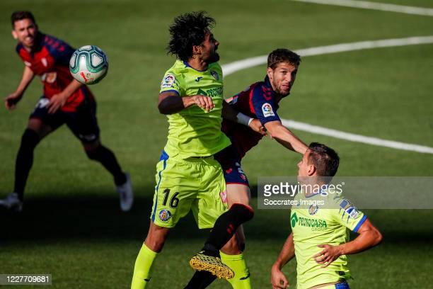 Etxeita of Getafe CF Darko Brasanac of CA Osasuna during the La Liga Santander match between Osasuna v Getafe at the Estadio El Sadar on July 5 2020...