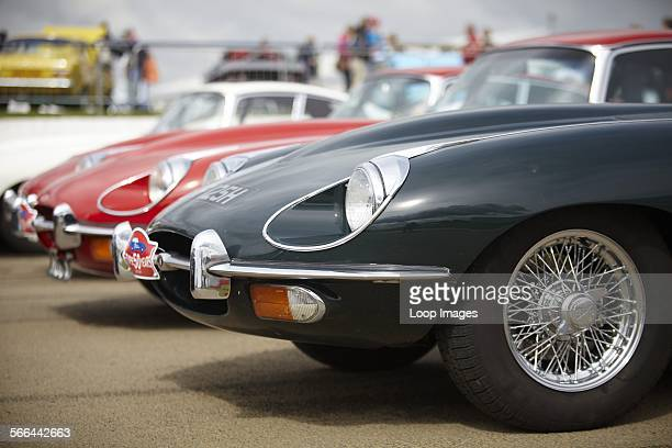 Etype Jaguars on display at Silverstone Classic an annual 3 day weekend classic motor racing festival with a wide range of family entertainment
