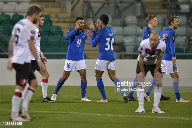 Etzaz Hussain of Molde FK celebrates after scoring his sides first goal with Mathis Bolly of Molde FK during the UEFA Europa League Group B stage...