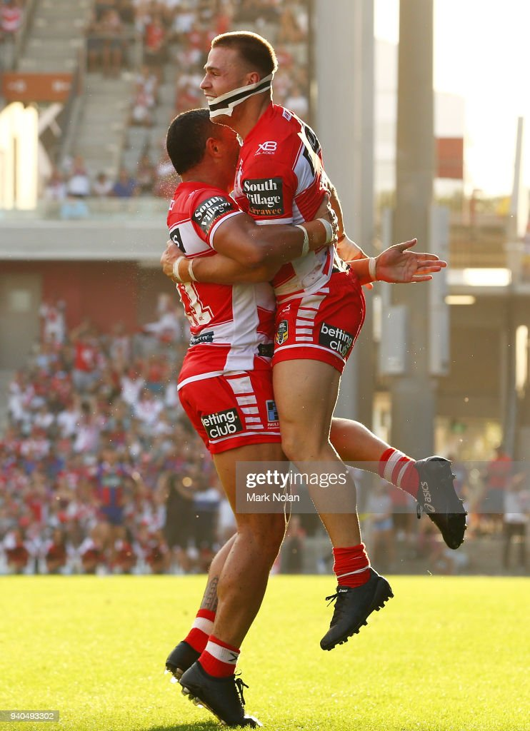 Euan Aitken of the Dragons celebrates scoring a try during the round four NRL match between the St George Illawarra Dragons and the Newcastle Knights at WIN Stadium on April 1, 2018 in Wollongong, Australia.
