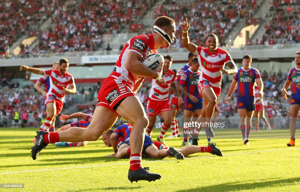 Euan Aitken of the Dragons crosses to score a try during the round four NRL match between the St George Illawarra Dragons and the Newcastle Knights at WIN Stadium on April 1, 2018 in Wollongong, Australia.