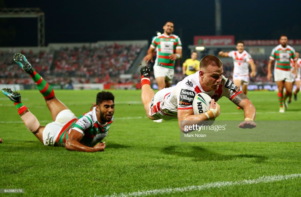 Euan Aitken of the Dragons dives to score a try during the round five NRL match between the St George Illawarra Dragons and the South Sydney Rabbitohs at UOW Jubilee Oval on April 6, 2018 in Sydney, Australia.