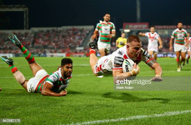 Euan Aitken of the Dragons dives to score a try during the round five NRL match between the St George Illawarra Dragons and the South Sydney...