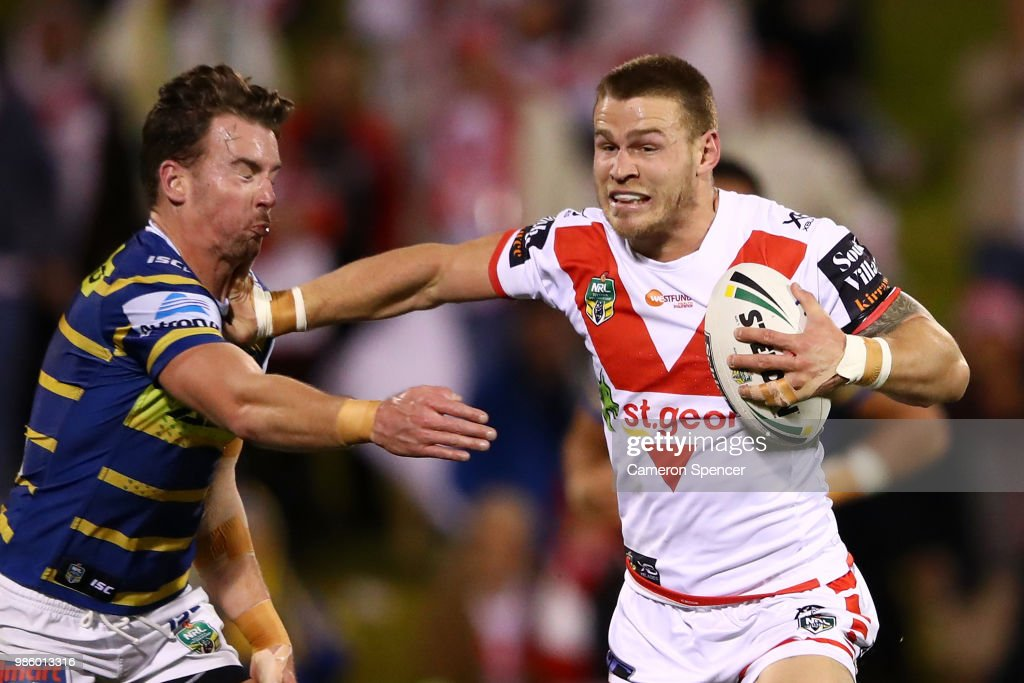 Euan Aitken of the Dragons makes a break during the round 16 NRL match between the St George Illawarra Dragons and the Parramatta Eels at WIN Stadium on June 28, 2018 in Wollongong, Australia.