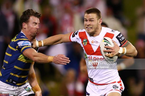 Euan Aitken of the Dragons makes a break during the round 16 NRL match between the St George Illawarra Dragons and the Parramatta Eels at WIN Stadium...