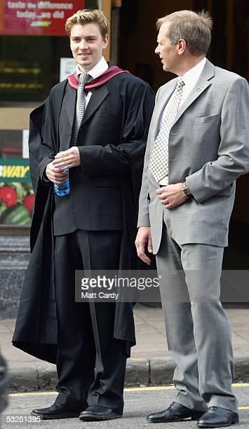Euan Blair son of Prime Minister Tony Blair graduates at Bristol University on July 18 2005 in Bristol England