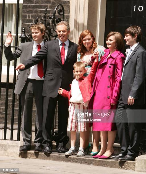 Euan Blair Tony Blair Leo Blair Kathryn Blair wife Cherie Blair and Nicholas Blair