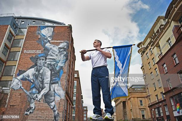 Euan Burton multiple World and European medal winning judoka poses with the Scottish Saltire flag on September 21 2014 in GlasgowScotland Euan has...