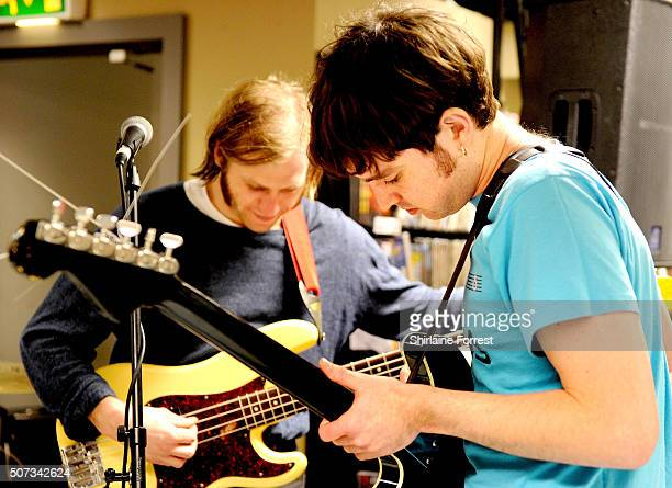 Euan Hinshelwood and Joe Chilton of Younghusband perform live and sign copies of their new album 'Dissolver' at Fopp on January 28 2016 in Manchester...