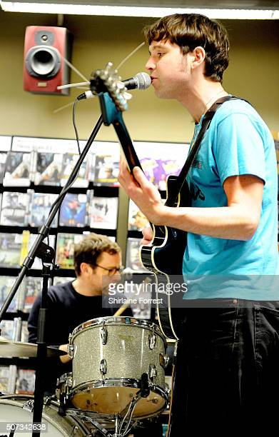 Euan Hinshelwood and Pete Baker of Younghusband perform live and sign copies of their new album 'Dissolver' at Fopp on January 28 2016 in Manchester...
