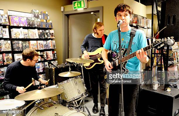 Euan Hinshelwood Joe Chilton and Pete Baker of Younghusband perform live and sign copies of their new album 'Dissolver' at Fopp on January 28 2016 in...