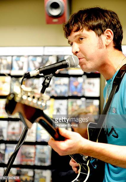 Euan Hinshelwood of Younghusband performs live and signs copies of their new album 'Dissolver' at Fopp on January 28 2016 in Manchester England