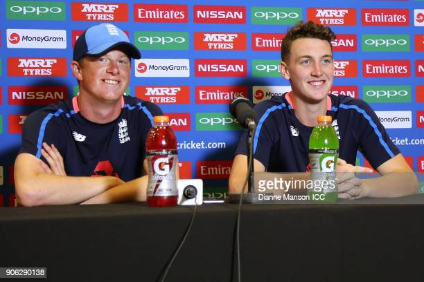 Euan Wood and Harry Brook of England speak to media during a press conference after the ICC U19 Cricket World Cup match between Bangladesh and...