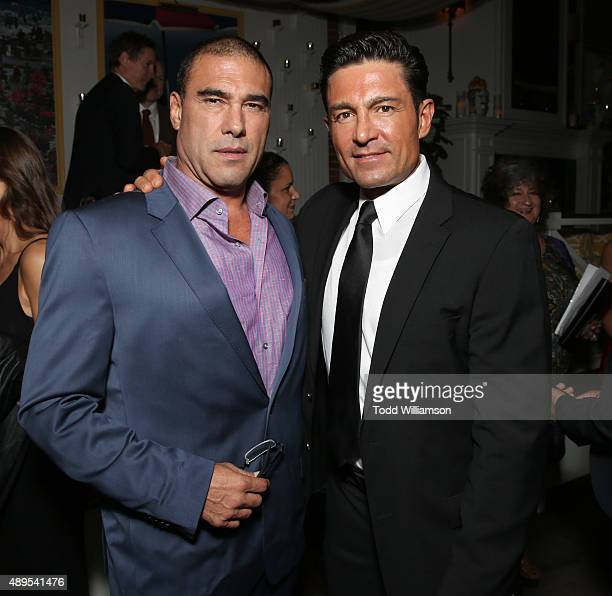 Euardo Yanez and Fernando Colunga attend the after party for Pantelion Films' Ladrones Los Angeles Premiere at the Warwick on September 21 2015 in...