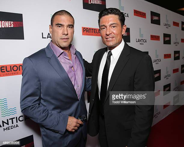 Euardo Yanez and Fernando Colunga attend the Pantelion Films' Ladrones Los Angeles Premiere at the Archlight Theater on September 21 2015 in Los...