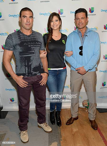 Euardo YanezAna Patricia Gamez and Fernando Colunga visit the set of 'Despierta America' to promote his film 'Ladrones' at Univision Studios on...