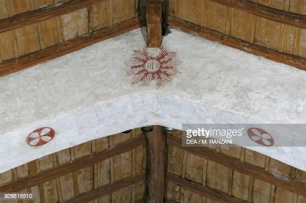 Eucharistic symbol fresco in the church of San Michele al Pozzo Bianco Lombardy Italy 15th century