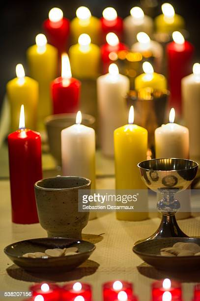 Eucharistic table and altar candles.